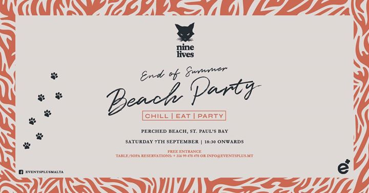 Nine Lives End of Summer Beach Party