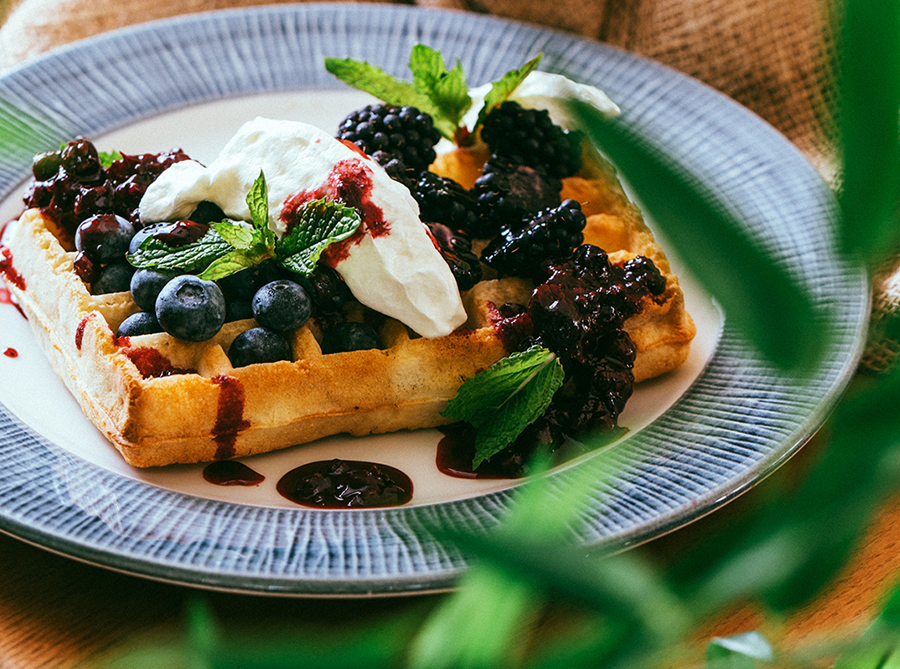 Waffle With Mixed Berries and Cream